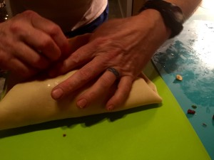 Sealing the roulade en croute