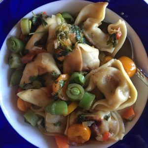 Ginger Chicken Wontons with Summer Vegetables