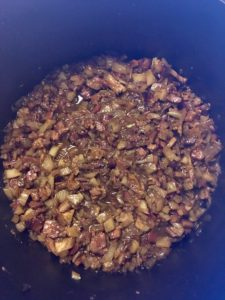 Bacon, Fennel, and Onion Marmalade Cooking down