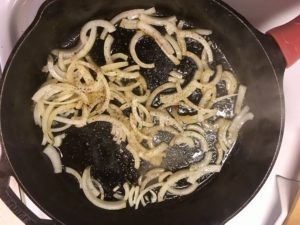 Sweat the onions in rendered beef fat, with a little salt and pepper
