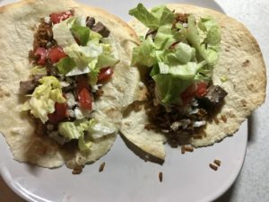 T Bone Tacos with rice and beans