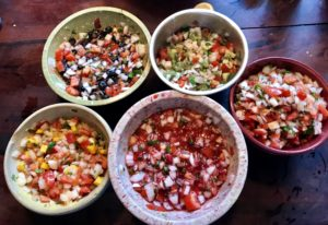 Blueberry, raspberry, kiwi, and mango Pico de Gallo