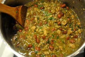 Gloria's glorious Turkey Chile Verde with Heirloom Eye of the Goat Beans and Homemade Salsa Verde.